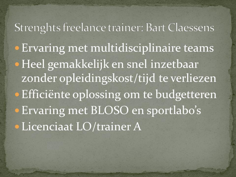 Ervaring met multidisciplinaire teams Heel gemakkelijk en snel inzetbaar zonder opleidingskost/tijd te verliezen Efficiënte oplossing om te budgetteren Ervaring met BLOSO en sportlabo's Licenciaat LO/trainer A