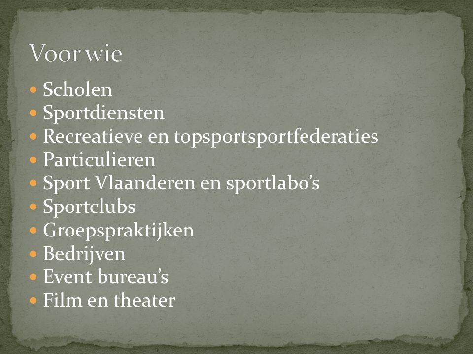 Scholen Sportdiensten Recreatieve en topsportsportfederaties Particulieren Sport Vlaanderen en sportlabo's Sportclubs Groepspraktijken Bedrijven Event bureau's Film en theater
