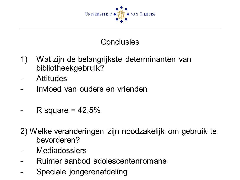 Conclusies 1)Wat zijn de belangrijkste determinanten van bibliotheekgebruik.