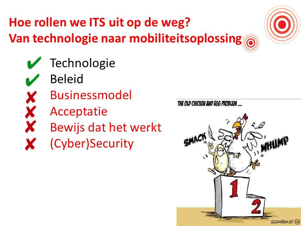 Hoe rollen we ITS uit op de weg? Van technologie naar mobiliteitsoplossing Technologie Beleid Businessmodel Acceptatie Bewijs dat het werkt (Cyber)Sec