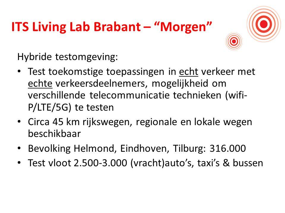 ITS Living Lab Brabant – Morgen Hybride testomgeving: Test toekomstige toepassingen in echt verkeer met echte verkeersdeelnemers, mogelijkheid om verschillende telecommunicatie technieken (wifi- P/LTE/5G) te testen Circa 45 km rijkswegen, regionale en lokale wegen beschikbaar Bevolking Helmond, Eindhoven, Tilburg: 316.000 Test vloot 2.500-3.000 (vracht)auto's, taxi's & bussen