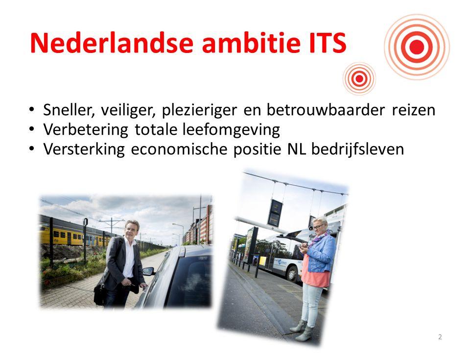 2 Nederlandse ambitie ITS Sneller, veiliger, plezieriger en betrouwbaarder reizen Verbetering totale leefomgeving Versterking economische positie NL bedrijfsleven