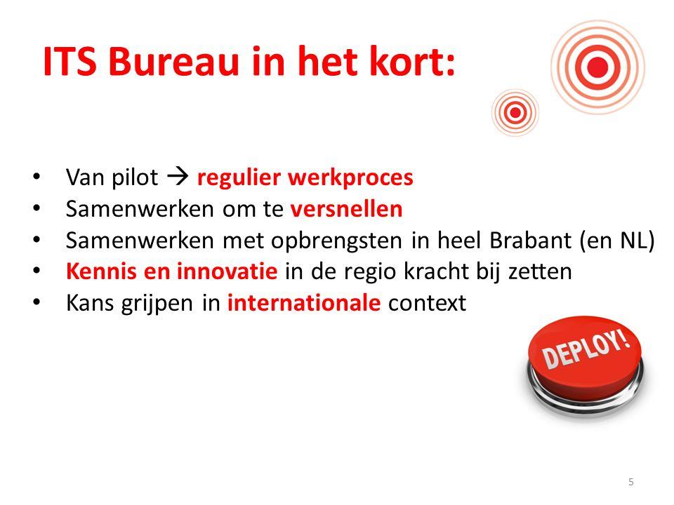 5 ITS Bureau in het kort: Van pilot  regulier werkproces Samenwerken om te versnellen Samenwerken met opbrengsten in heel Brabant (en NL) Kennis en innovatie in de regio kracht bij zetten Kans grijpen in internationale context