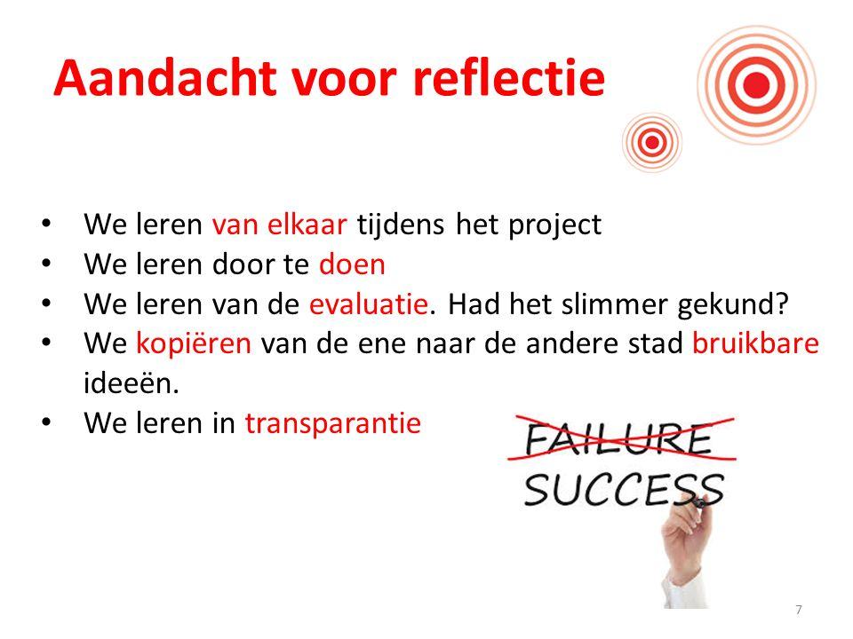 7 Aandacht voor reflectie We leren van elkaar tijdens het project We leren door te doen We leren van de evaluatie. Had het slimmer gekund? We kopiëren