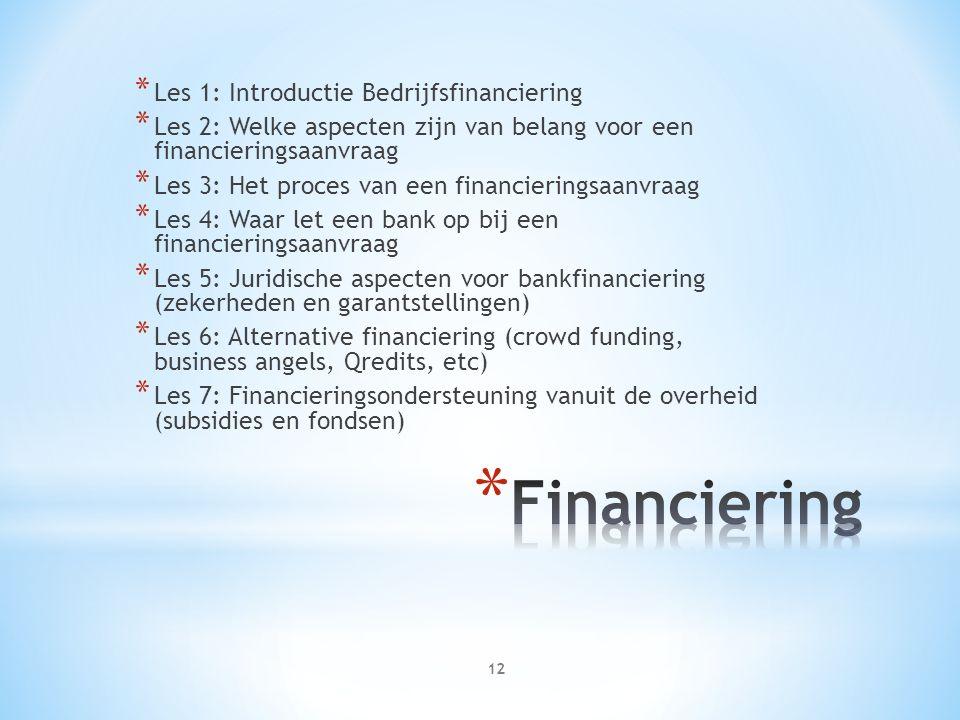 * Les 1: Introductie Bedrijfsfinanciering * Les 2: Welke aspecten zijn van belang voor een financieringsaanvraag * Les 3: Het proces van een financieringsaanvraag * Les 4: Waar let een bank op bij een financieringsaanvraag * Les 5: Juridische aspecten voor bankfinanciering (zekerheden en garantstellingen) * Les 6: Alternative financiering (crowd funding, business angels, Qredits, etc) * Les 7: Financieringsondersteuning vanuit de overheid (subsidies en fondsen) 12