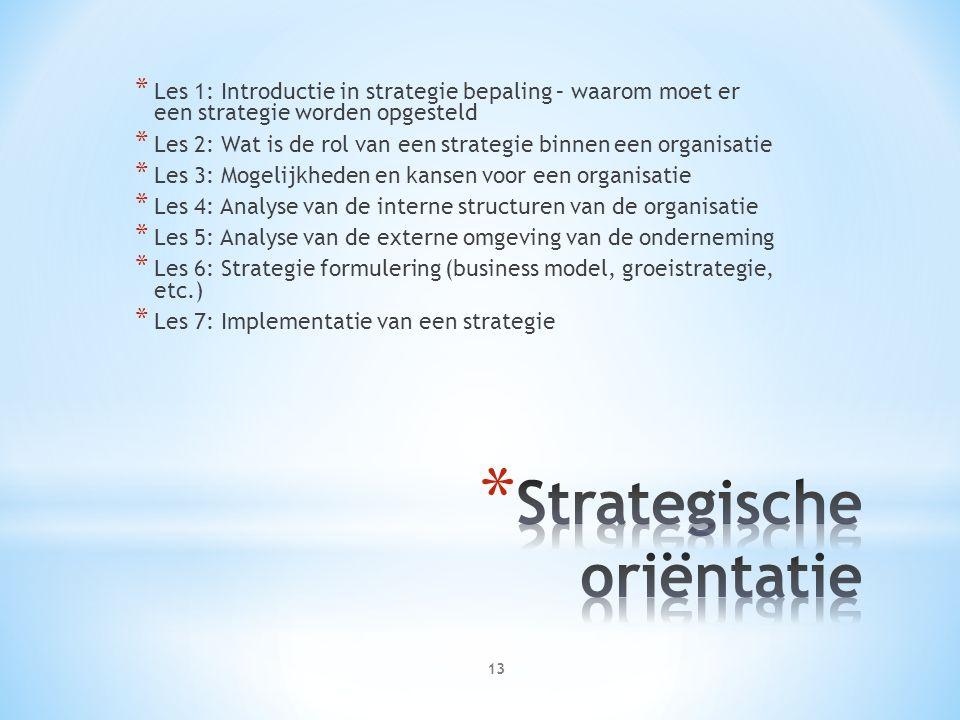 * Les 1: Introductie in strategie bepaling – waarom moet er een strategie worden opgesteld * Les 2: Wat is de rol van een strategie binnen een organisatie * Les 3: Mogelijkheden en kansen voor een organisatie * Les 4: Analyse van de interne structuren van de organisatie * Les 5: Analyse van de externe omgeving van de onderneming * Les 6: Strategie formulering (business model, groeistrategie, etc.) * Les 7: Implementatie van een strategie 13
