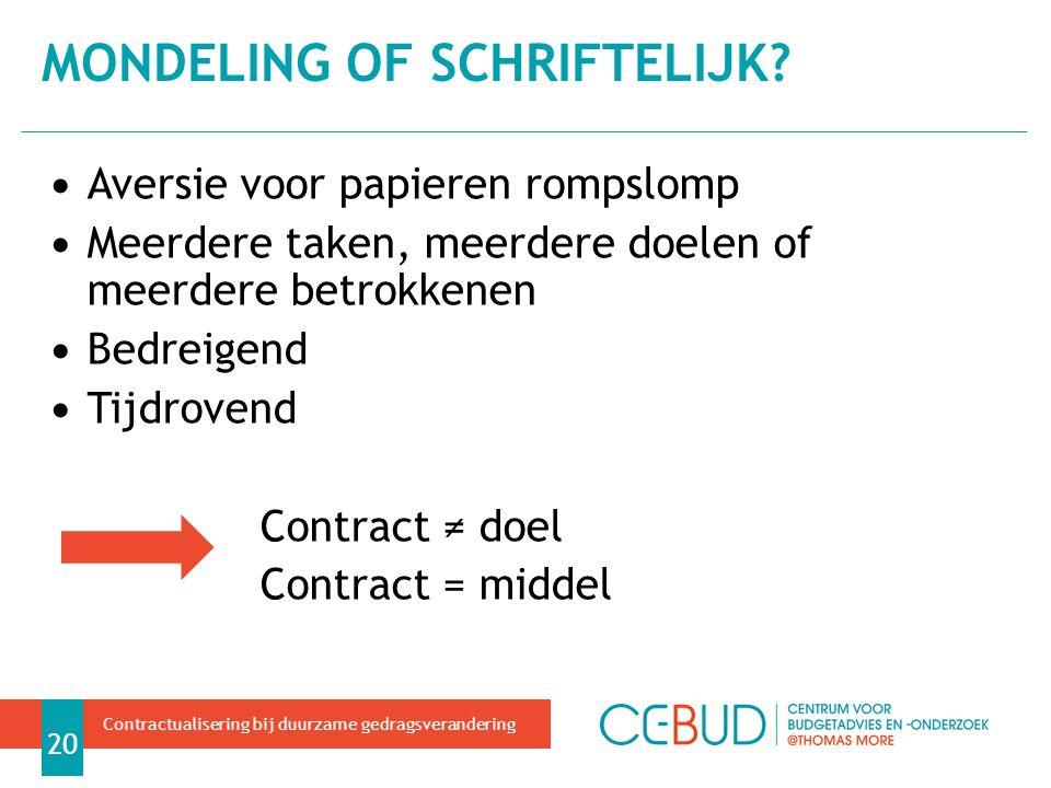 Aversie voor papieren rompslomp Meerdere taken, meerdere doelen of meerdere betrokkenen Bedreigend Tijdrovend Contract ≠ doel Contract = middel MONDELING OF SCHRIFTELIJK.