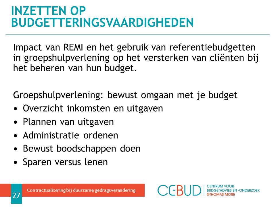 Impact van REMI en het gebruik van referentiebudgetten in groepshulpverlening op het versterken van cliënten bij het beheren van hun budget.
