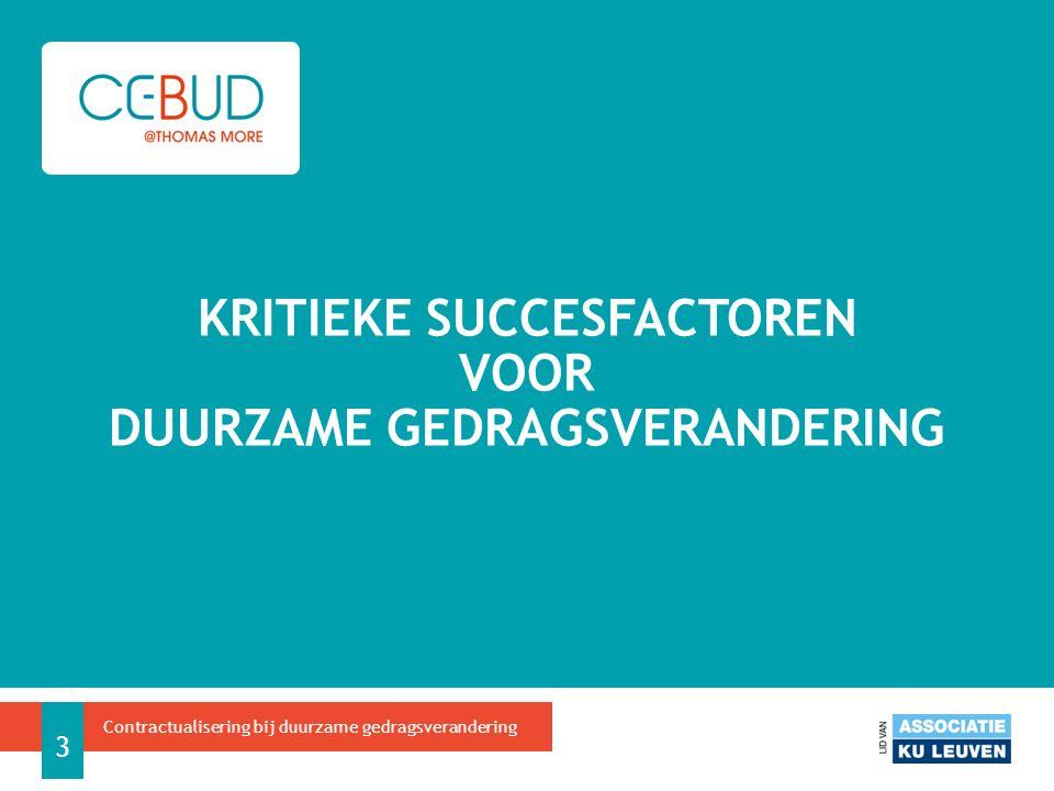 Budgetmanagement 4 Contractualisering bij duurzame gedragsverandering KRITIEKE SUCCESFACTOREN