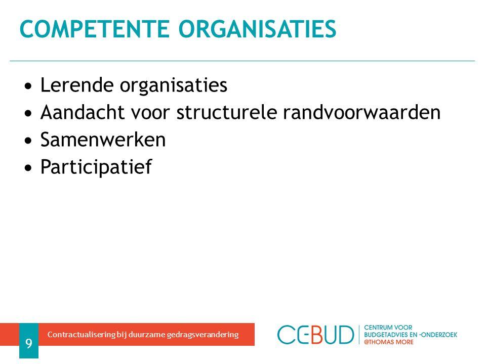 Lerende organisaties Aandacht voor structurele randvoorwaarden Samenwerken Participatief COMPETENTE ORGANISATIES 9 Contractualisering bij duurzame gedragsverandering