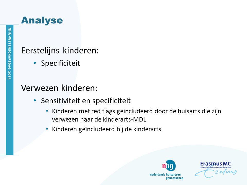 Analyse Eerstelijns kinderen: Specificiteit Verwezen kinderen: Sensitiviteit en specificiteit Kinderen met red flags geincludeerd door de huisarts die zijn verwezen naar de kinderarts-MDL Kinderen geïncludeerd bij de kinderarts