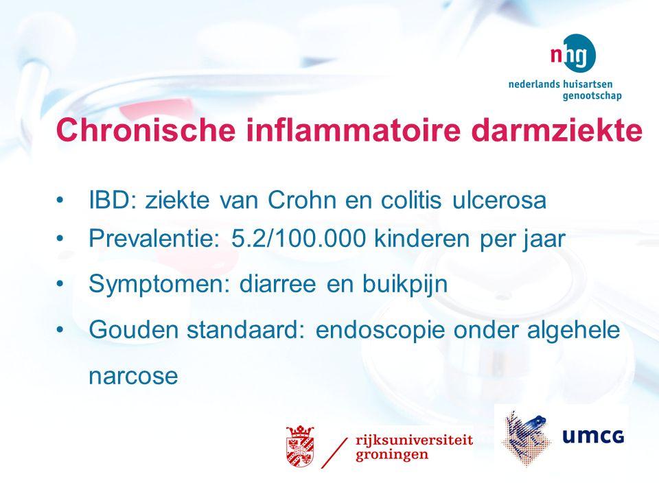 Chronische inflammatoire darmziekte IBD: ziekte van Crohn en colitis ulcerosa Prevalentie: 5.2/100.000 kinderen per jaar Symptomen: diarree en buikpij