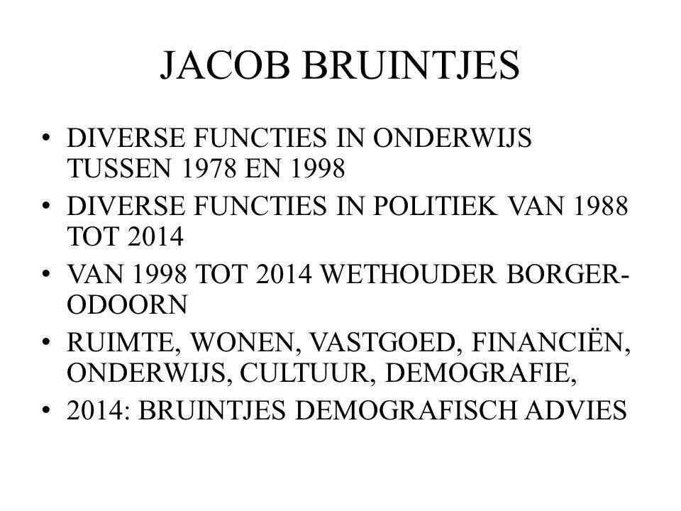 JACOB BRUINTJES DIVERSE FUNCTIES IN ONDERWIJS TUSSEN 1978 EN 1998 DIVERSE FUNCTIES IN POLITIEK VAN 1988 TOT 2014 VAN 1998 TOT 2014 WETHOUDER BORGER- ODOORN RUIMTE, WONEN, VASTGOED, FINANCIËN, ONDERWIJS, CULTUUR, DEMOGRAFIE, 2014: BRUINTJES DEMOGRAFISCH ADVIES