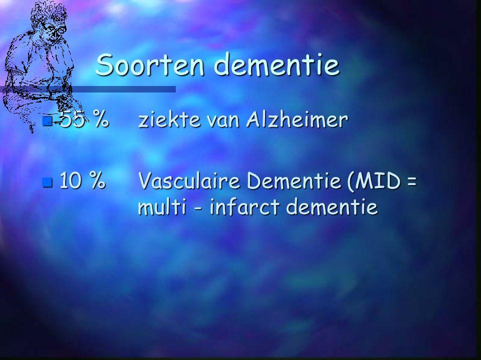 Soorten dementie n 55 %ziekte van Alzheimer n 10 %Vasculaire Dementie (MID = multi - infarct dementie