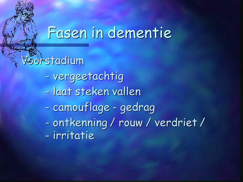 Fasen in dementie Voorstadium - vergeetachtig - laat steken vallen - camouflage - gedrag - ontkenning / rouw / verdriet / - irritatie