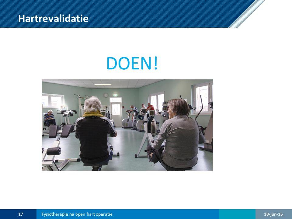 Hartrevalidatie DOEN! 18-jun-1617Fysiotherapie na open hart operatie