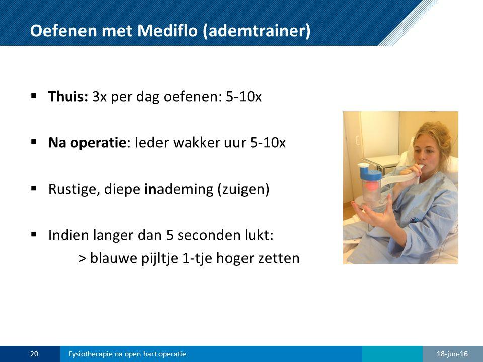 Oefenen met Mediflo (ademtrainer)  Thuis: 3x per dag oefenen: 5-10x  Na operatie: Ieder wakker uur 5-10x  Rustige, diepe inademing (zuigen)  Indie