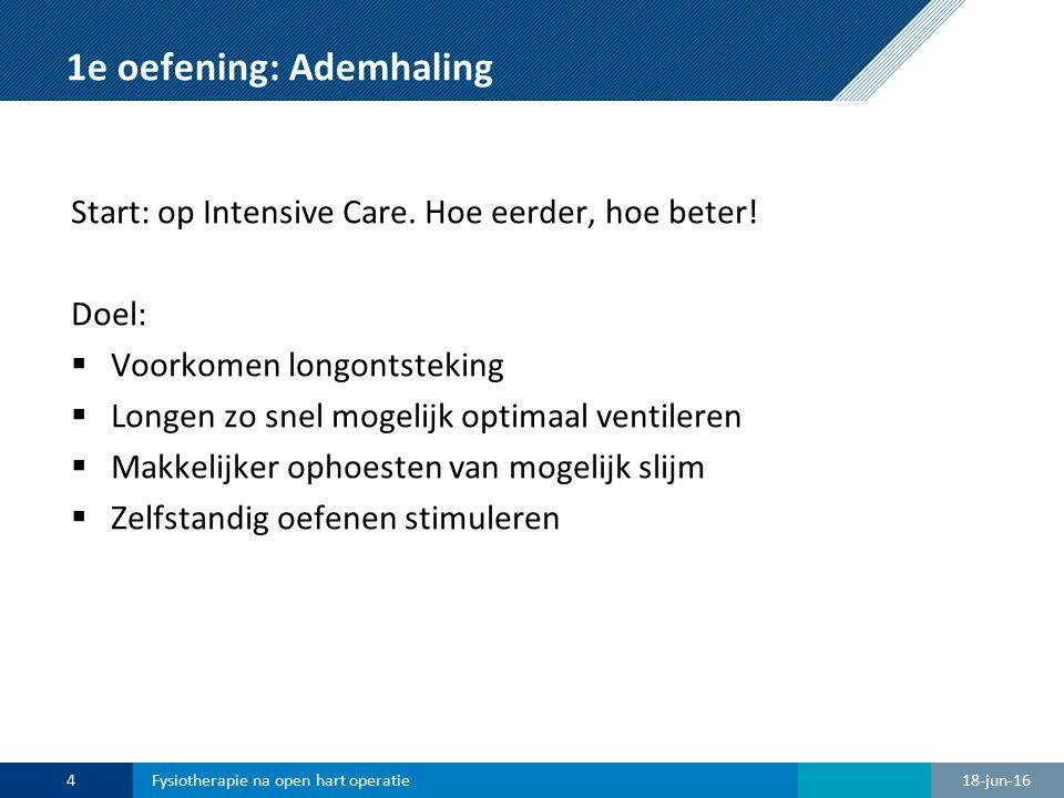 1e oefening: Ademhaling Start: op Intensive Care. Hoe eerder, hoe beter! Doel:  Voorkomen longontsteking  Longen zo snel mogelijk optimaal ventilere