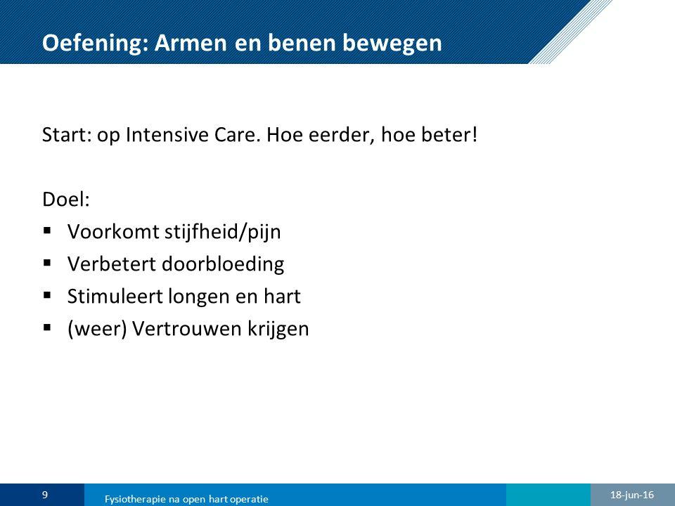 Oefening: Armen en benen bewegen Start: op Intensive Care. Hoe eerder, hoe beter! Doel:  Voorkomt stijfheid/pijn  Verbetert doorbloeding  Stimuleer