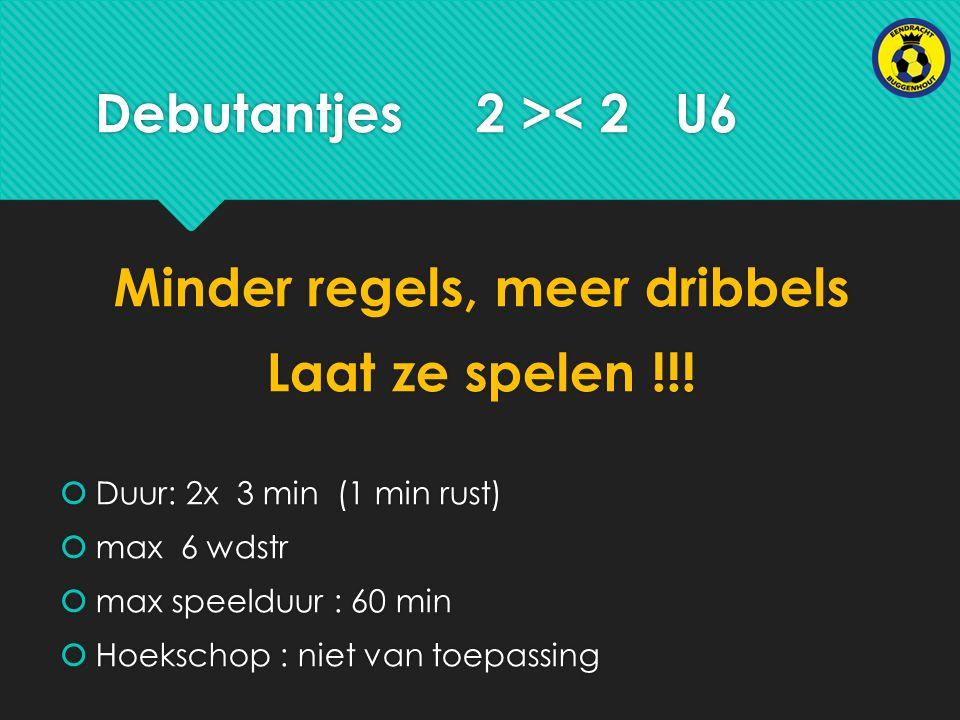 Debutantjes 2 >< 2 U6 Minder regels, meer dribbels Laat ze spelen !!.