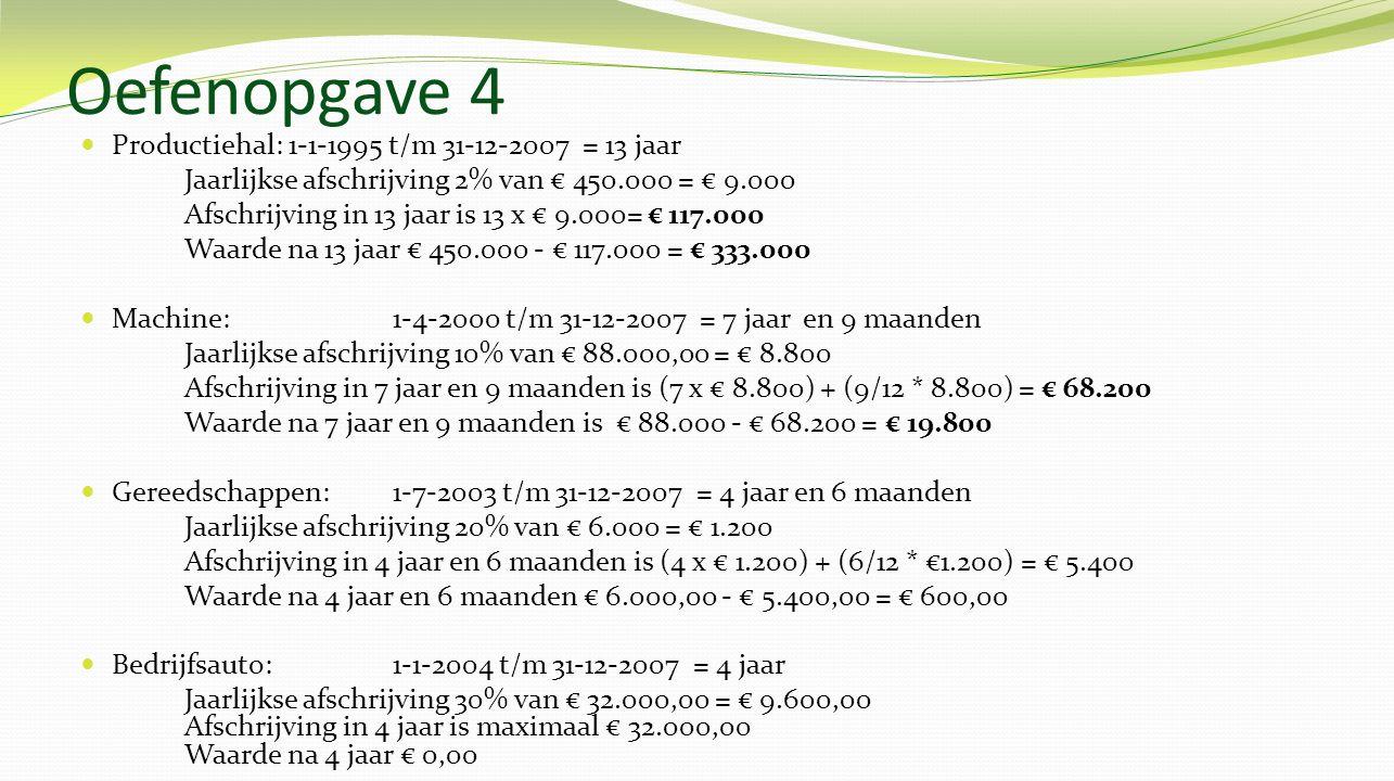 Oefenopgave 4 Productiehal: 1-1-1995 t/m 31-12-2007 = 13 jaar Jaarlijkse afschrijving 2% van € 450.000 = € 9.000 Afschrijving in 13 jaar is 13 x € 9.000= € 117.000 Waarde na 13 jaar € 450.000 - € 117.000 = € 333.000 Machine: 1-4-2000 t/m 31-12-2007 = 7 jaar en 9 maanden Jaarlijkse afschrijving 10% van € 88.000,00 = € 8.800 Afschrijving in 7 jaar en 9 maanden is (7 x € 8.800) + (9/12 * 8.800) = € 68.200 Waarde na 7 jaar en 9 maanden is € 88.000 - € 68.200 = € 19.800 Gereedschappen: 1-7-2003 t/m 31-12-2007 = 4 jaar en 6 maanden Jaarlijkse afschrijving 20% van € 6.000 = € 1.200 Afschrijving in 4 jaar en 6 maanden is (4 x € 1.200) + (6/12 * €1.200) = € 5.400 Waarde na 4 jaar en 6 maanden € 6.000,00 - € 5.400,00 = € 600,00 Bedrijfsauto: 1-1-2004 t/m 31-12-2007 = 4 jaar Jaarlijkse afschrijving 30% van € 32.000,00 = € 9.600,00 Afschrijving in 4 jaar is maximaal € 32.000,00 Waarde na 4 jaar € 0,00