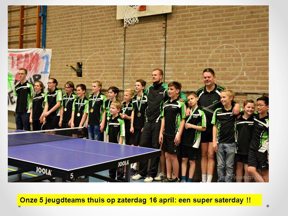 Onze 5 jeugdteams thuis op zaterdag 16 april: een super saterday !!