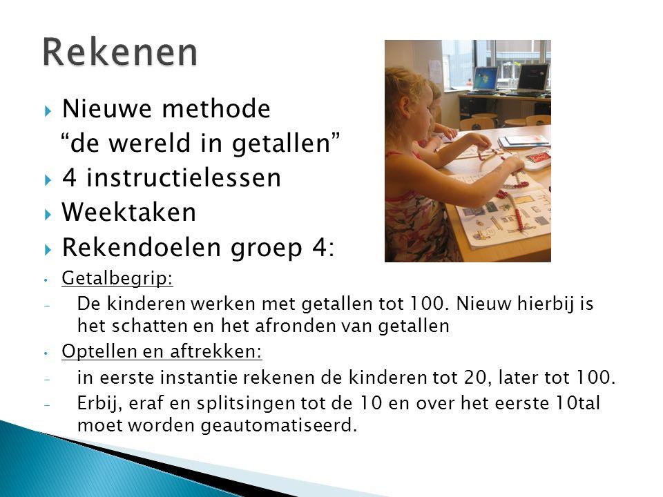  Nieuwe methode de wereld in getallen  4 instructielessen  Weektaken  Rekendoelen groep 4: Getalbegrip: - De kinderen werken met getallen tot 100.