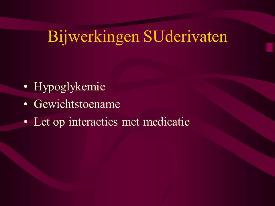Bijwerkingen SUderivaten Hypoglykemie Gewichtstoename Let op interacties met medicatie