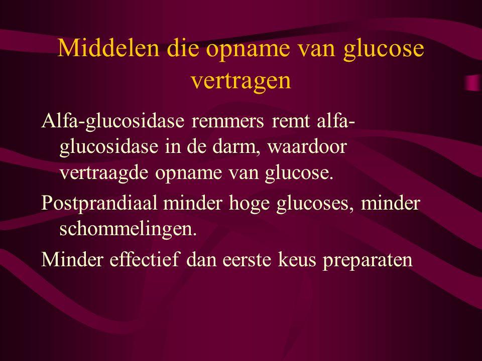 Middelen die opname van glucose vertragen Alfa-glucosidase remmers remt alfa- glucosidase in de darm, waardoor vertraagde opname van glucose. Postpran