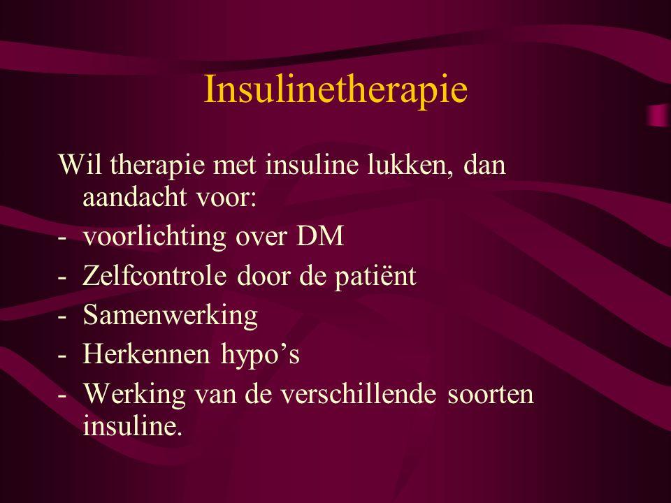 Wil therapie met insuline lukken, dan aandacht voor: -voorlichting over DM -Zelfcontrole door de patiënt -Samenwerking -Herkennen hypo's -Werking van