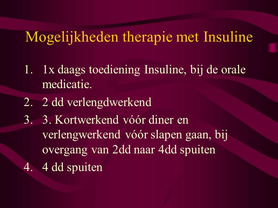Mogelijkheden therapie met Insuline 1.1x daags toediening Insuline, bij de orale medicatie. 2.2 dd verlengdwerkend 3.3. Kortwerkend vóór diner en verl