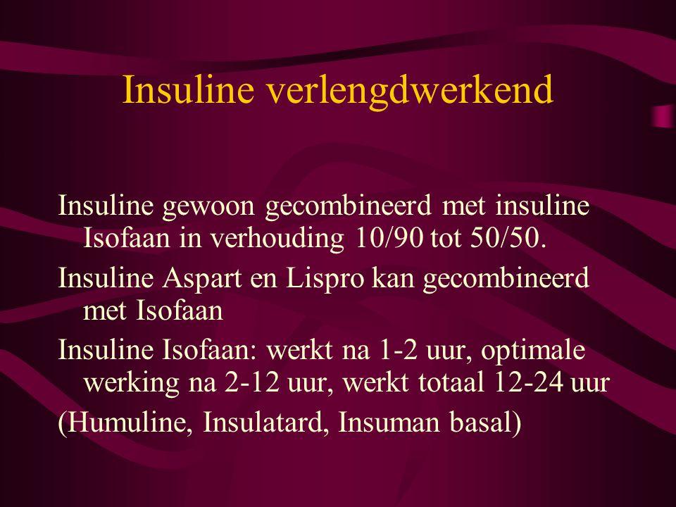 Insuline verlengdwerkend Insuline gewoon gecombineerd met insuline Isofaan in verhouding 10/90 tot 50/50. Insuline Aspart en Lispro kan gecombineerd m