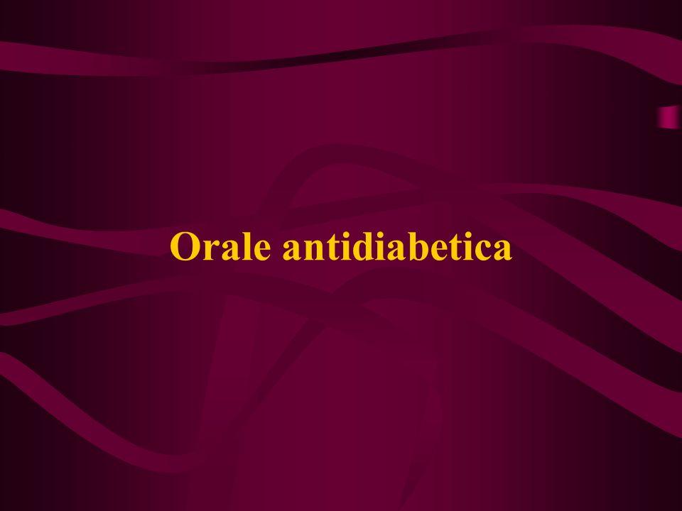 Werking: -stimuleren insuline secretie Of -verhogen de gevoeligheid van de spier-, lever, vetcel voor insuline -remming opname glucose uit darm