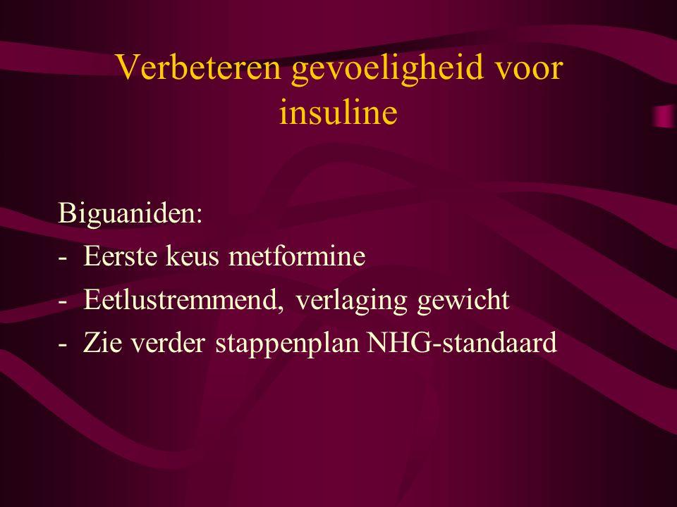 Verbeteren gevoeligheid voor insuline Biguaniden: -Eerste keus metformine -Eetlustremmend, verlaging gewicht -Zie verder stappenplan NHG-standaard