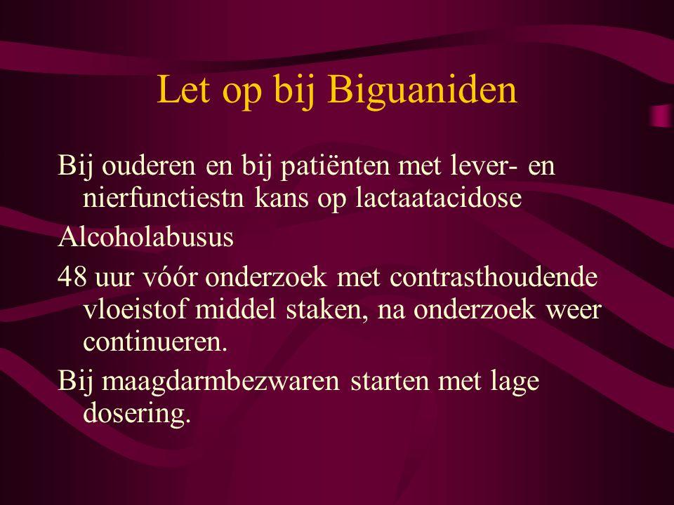 Let op bij Biguaniden Bij ouderen en bij patiënten met lever- en nierfunctiestn kans op lactaatacidose Alcoholabusus 48 uur vóór onderzoek met contras