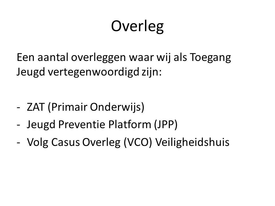 Overleg Een aantal overleggen waar wij als Toegang Jeugd vertegenwoordigd zijn: -ZAT (Primair Onderwijs) -Jeugd Preventie Platform (JPP) -Volg Casus Overleg (VCO) Veiligheidshuis