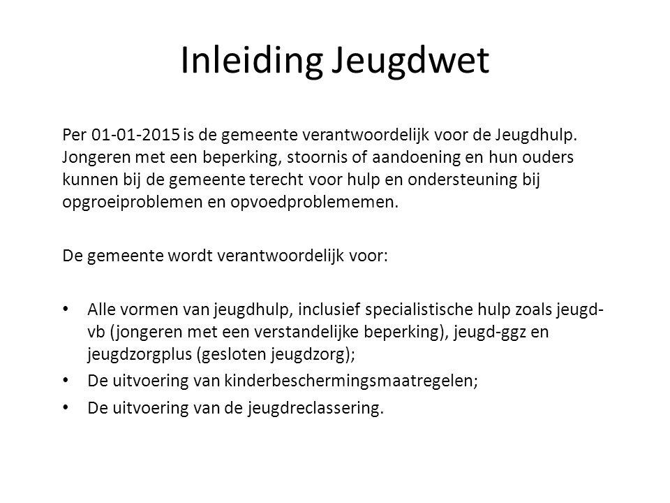 Inleiding Jeugdwet Per 01-01-2015 is de gemeente verantwoordelijk voor de Jeugdhulp.