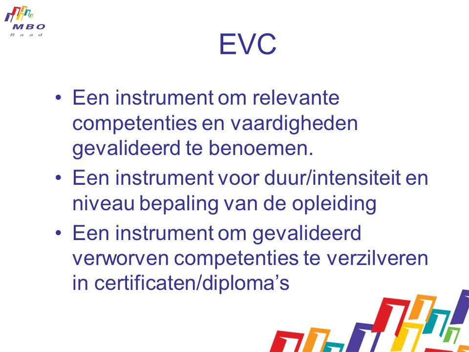 EVC Een instrument om relevante competenties en vaardigheden gevalideerd te benoemen. Een instrument voor duur/intensiteit en niveau bepaling van de o