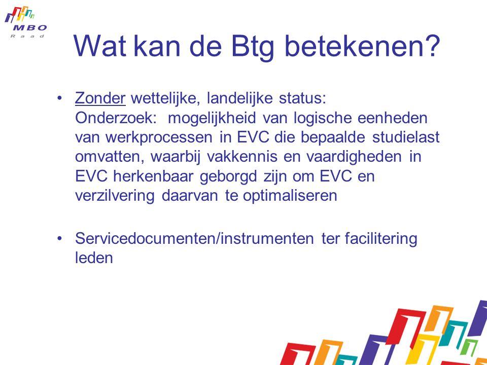 Wat kan de Btg betekenen? Zonder wettelijke, landelijke status: Onderzoek: mogelijkheid van logische eenheden van werkprocessen in EVC die bepaalde st