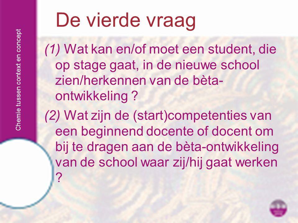 Chemie tussen context en concept (1) Wat kan en/of moet een student, die op stage gaat, in de nieuwe school zien/herkennen van de bèta- ontwikkeling ?