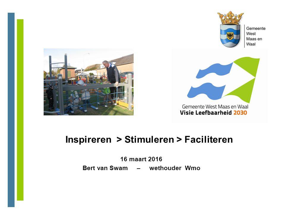 Inspireren > Stimuleren > Faciliteren 16 maart 2016 Bert van Swam – wethouder Wmo
