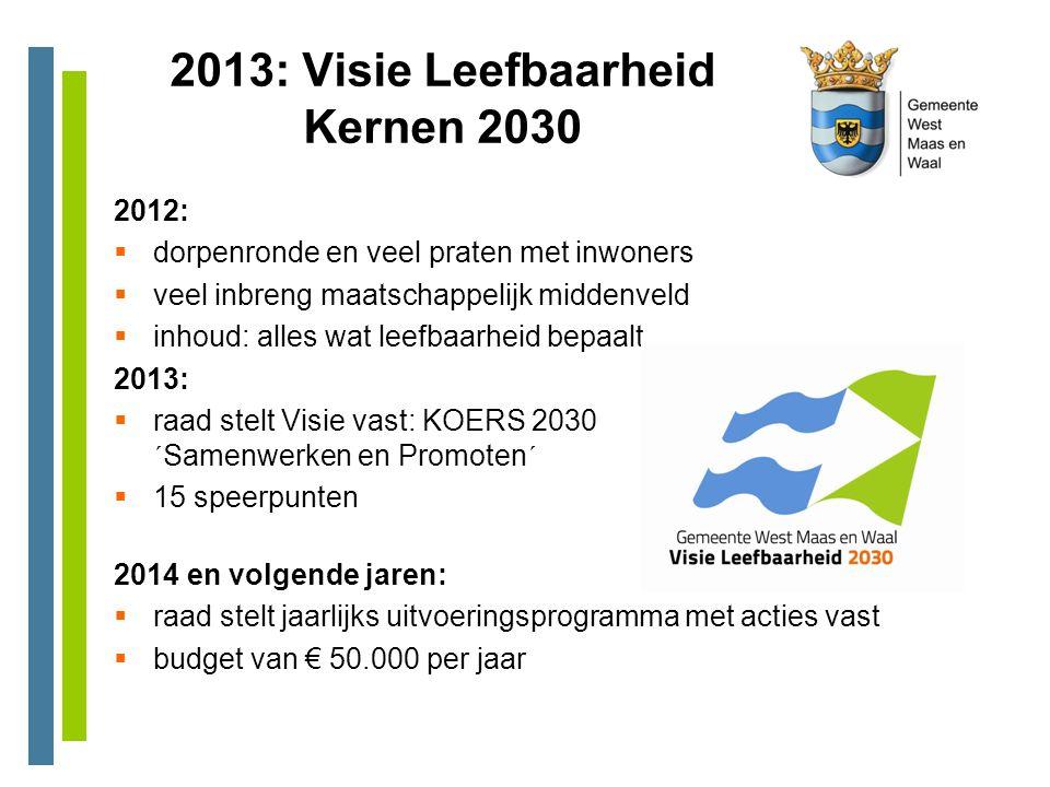 2013: Visie Leefbaarheid Kernen 2030 2012:  dorpenronde en veel praten met inwoners  veel inbreng maatschappelijk middenveld  inhoud: alles wat lee