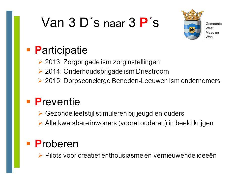 Van 3 D´s naar 3 P´s  Participatie  2013: Zorgbrigade ism zorginstellingen  2014: Onderhoudsbrigade ism Driestroom  2015: Dorpsconciërge Beneden-L