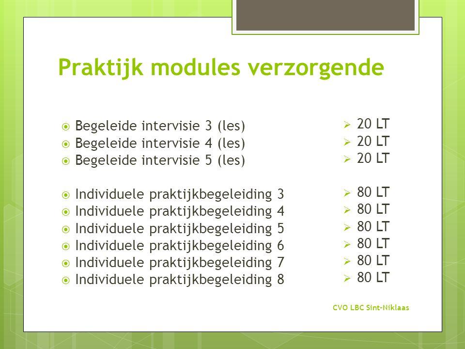 Praktijk modules verzorgende CVO LBC Sint-Niklaas  Begeleide intervisie 3 (les)  Begeleide intervisie 4 (les)  Begeleide intervisie 5 (les)  Indiv