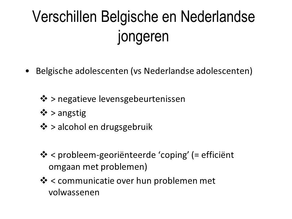 Verschillen Belgische en Nederlandse jongeren Belgische adolescenten (vs Nederlandse adolescenten)  > negatieve levensgebeurtenissen  > angstig  > alcohol en drugsgebruik  < probleem-georiënteerde 'coping' (= efficiënt omgaan met problemen)  < communicatie over hun problemen met volwassenen