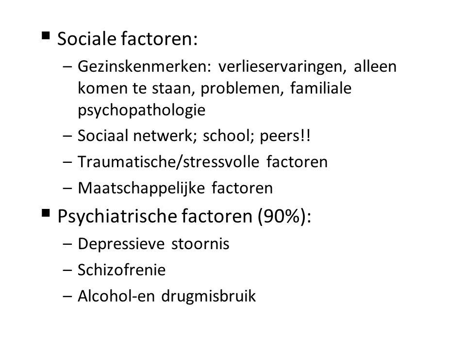  Sociale factoren: –Gezinskenmerken: verlieservaringen, alleen komen te staan, problemen, familiale psychopathologie –Sociaal netwerk; school; peers!.