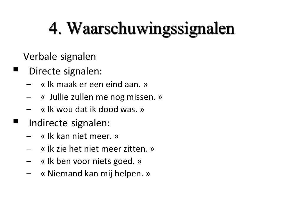4. Waarschuwingssignalen 1. Verbale signalen  Directe signalen: –« Ik maak er een eind aan.