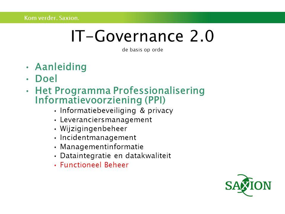 Kom verder. Saxion. IT-Governance 2.0 de basis op orde Aanleiding Doel Het Programma Professionalisering Informatievoorziening (PPI) Informatiebeveili