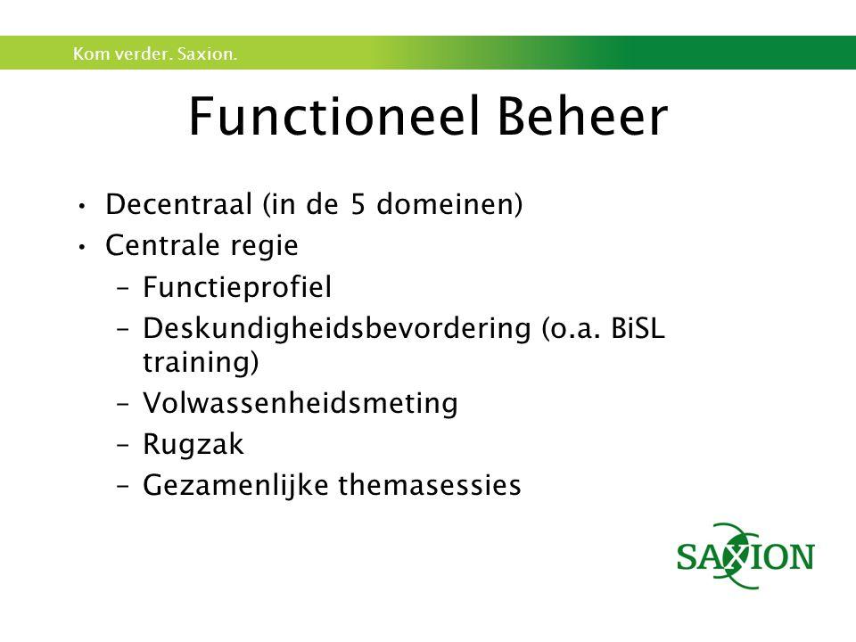 Kom verder. Saxion. Functioneel Beheer Decentraal (in de 5 domeinen) Centrale regie –Functieprofiel –Deskundigheidsbevordering (o.a. BiSL training) –V