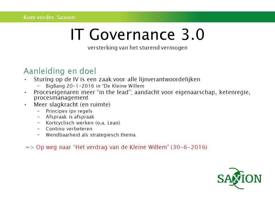 Kom verder. Saxion. IT Governance 3.0 versterking van het sturend vermogen Aanleiding en doel Sturing op de IV is een zaak voor alle lijnverantwoordel